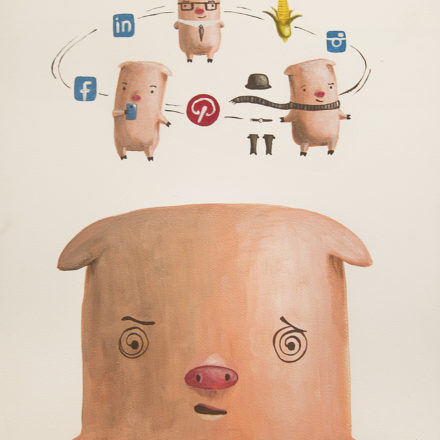 pig cute illustration social media exhibit facebook pinterest
