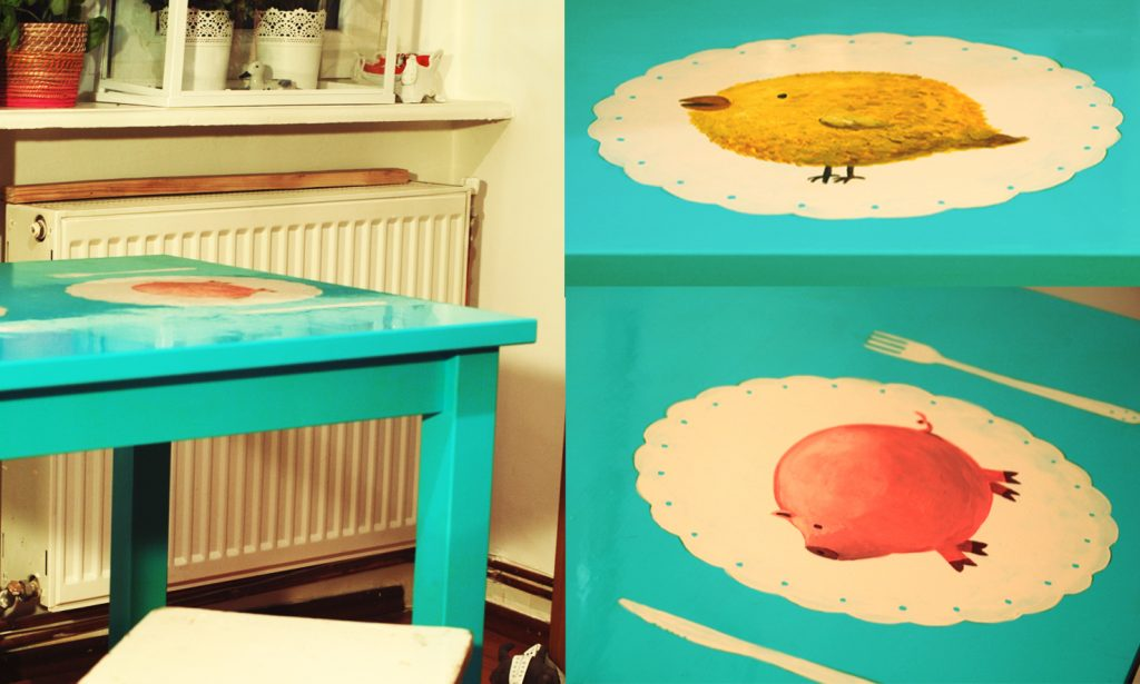 personalized dining table for two with cute funny characters