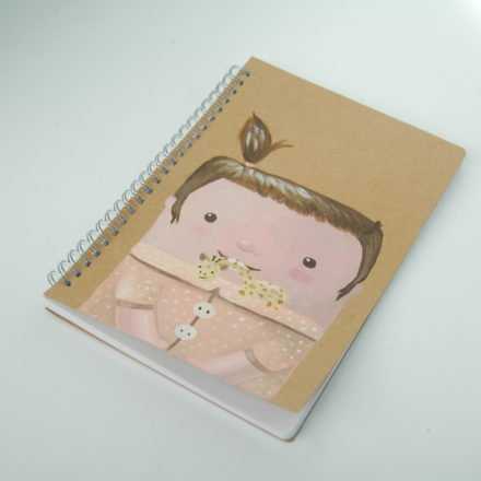 custom notebook hand painted cute baby illustration