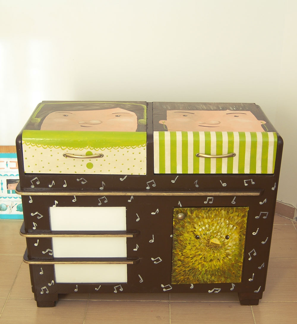 repurposed radio hand painted with whimsical characters