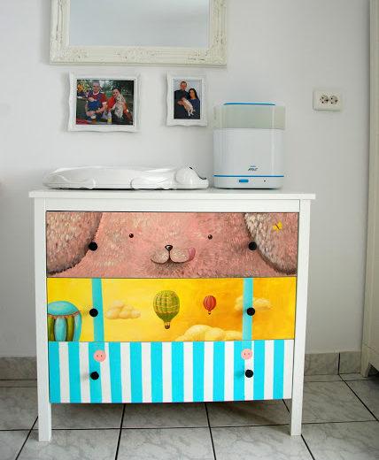 baby nursery decor idea hand painted dresser custom illustration