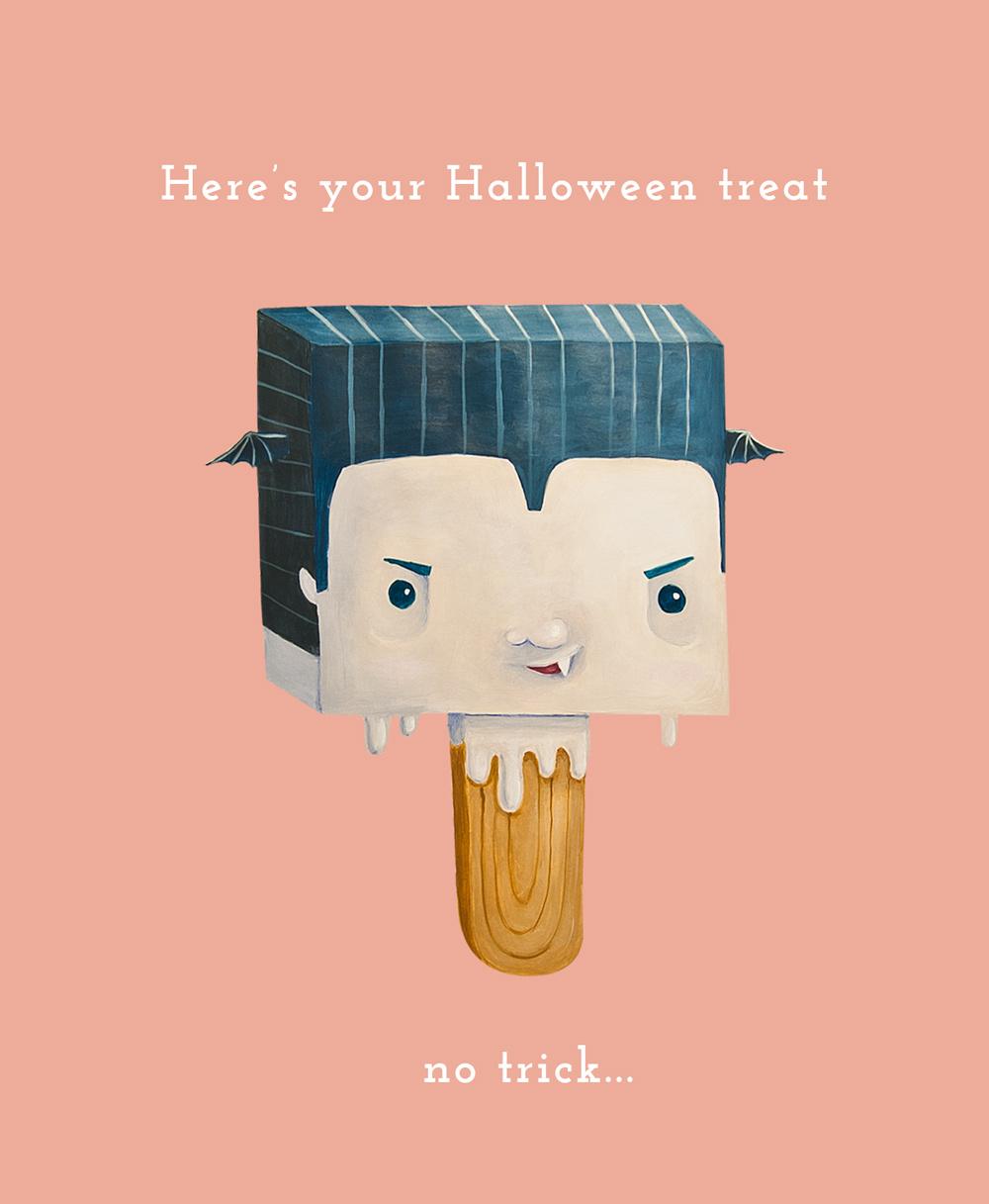 freebie halloween card ecard trick treat funny cute vampire
