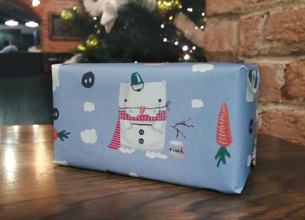 present gift wrapping paper hippo snowman illustration pattern design