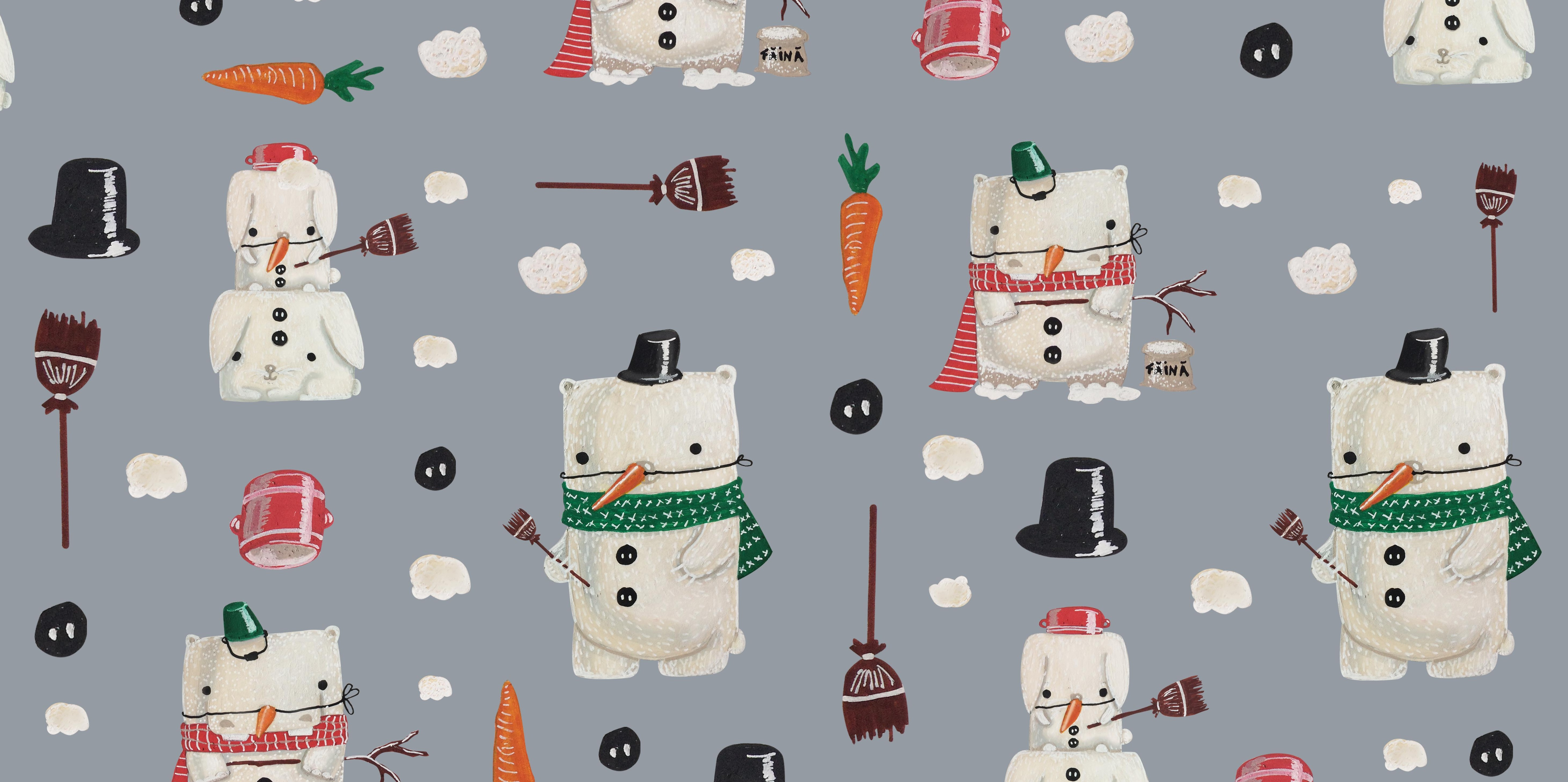pattern design wrapping paper illustration snowman cute funny carturesti