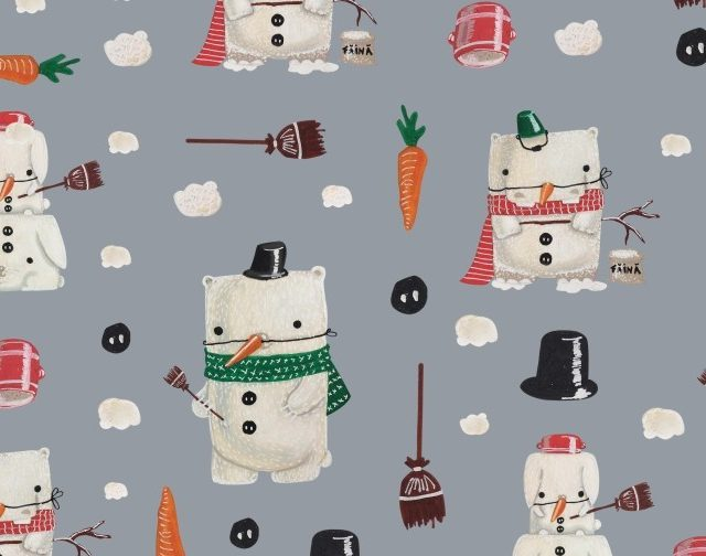 wrapping paper christmas paper snowman winter animals gitwrap illustration