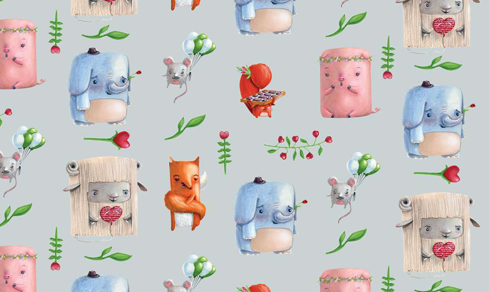 love pattern flowers cute valentine's day wrapping paper