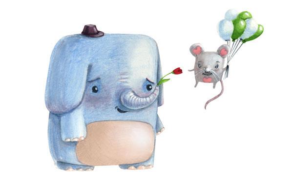 elephant mouse cute illustration balloon love