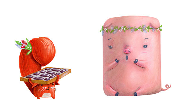pig squirrel candy love couple