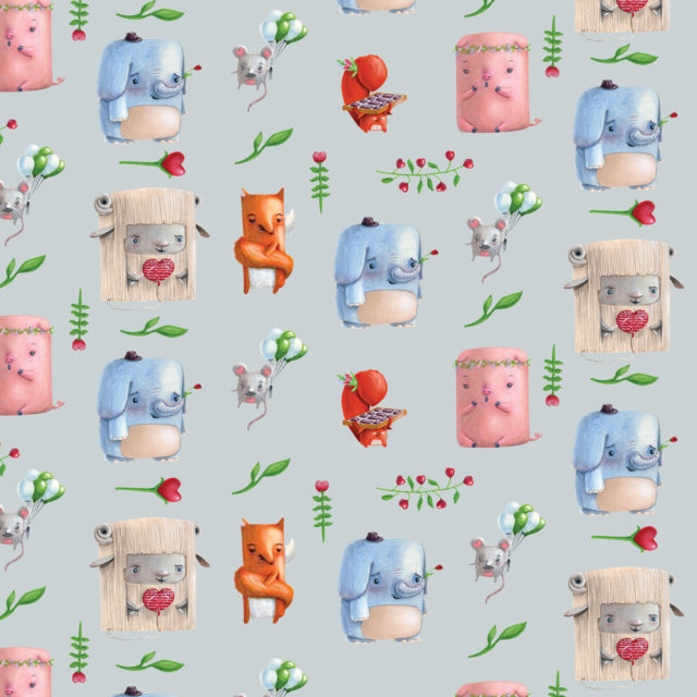 wrapping paper pattern design cute animals love valentine's day