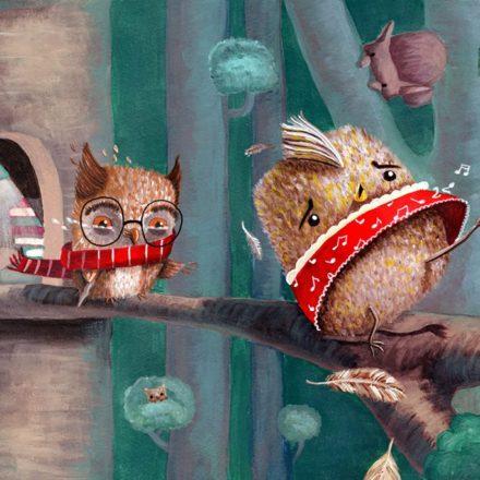 children's story illustration cuteoshenii bird forest owl lorelai mosnegutu