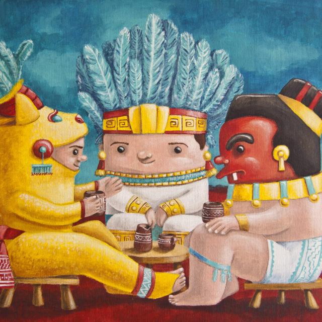 illustration mexican zapotec cuteoshenii andra badea acrylics painting pelicula mexican embassy exhibit