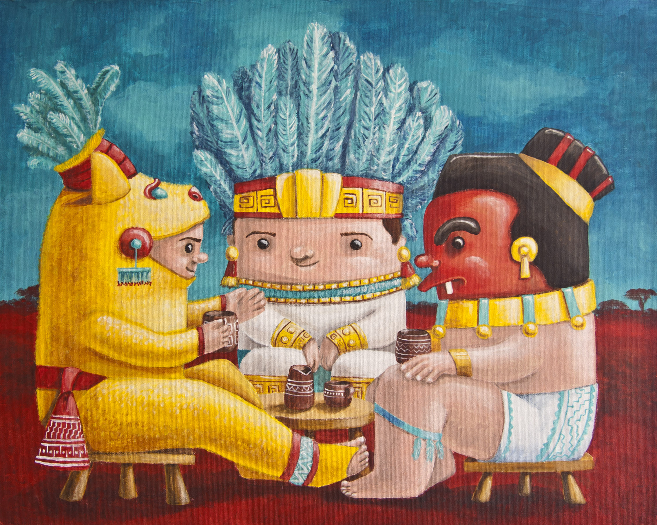 illustration mexican zapotec cuteoshenii andra badea acrylics painting pelicula mexican embassy exhibit