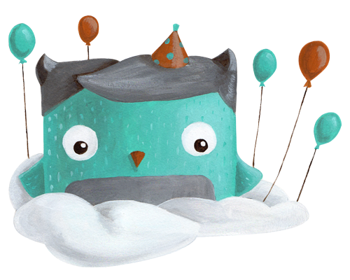 happy web icon party owl illustration cuteoshenii andra badea illustration minty agency