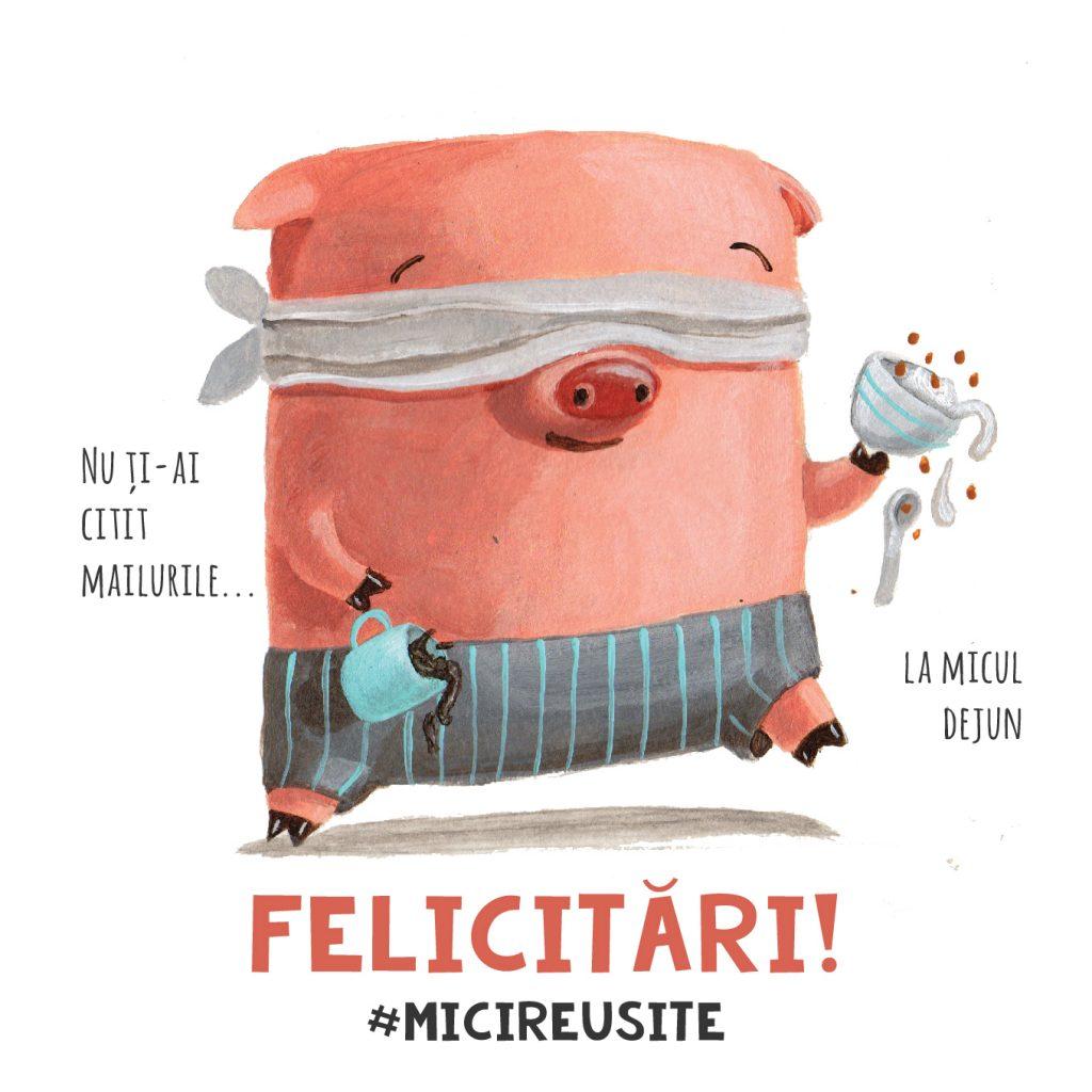 funny cuteoshenii mici reusite pig mobile emails breakfast home illustration card