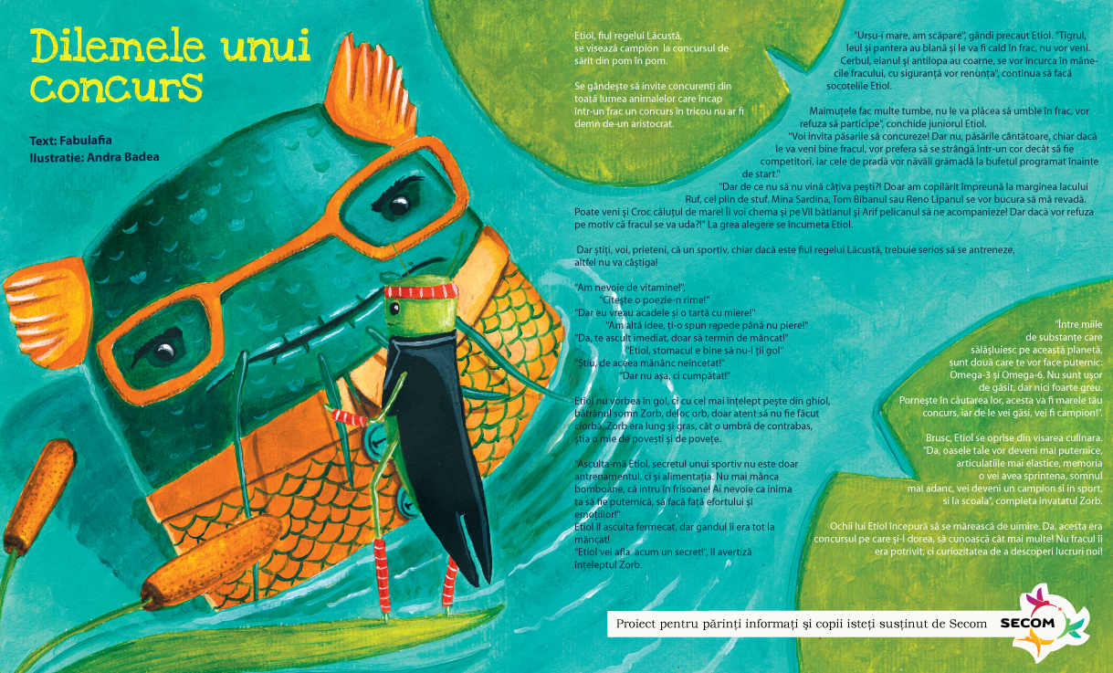 fabulafia secom romania Omega 3 kids magazine illustration cuteoshenii andra badea