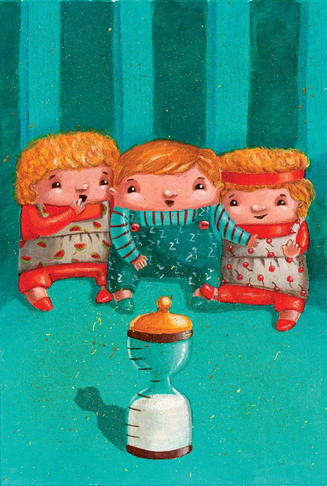 Decat o Revista Magazine - Life with triplets editorial illustration