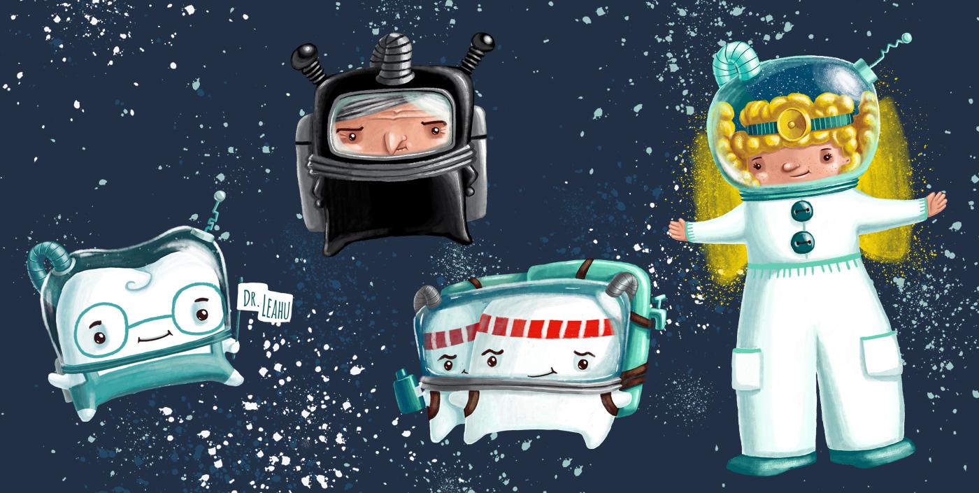 academia spatiala dr leahu ilustrator andra badea dental clinic illustration decor