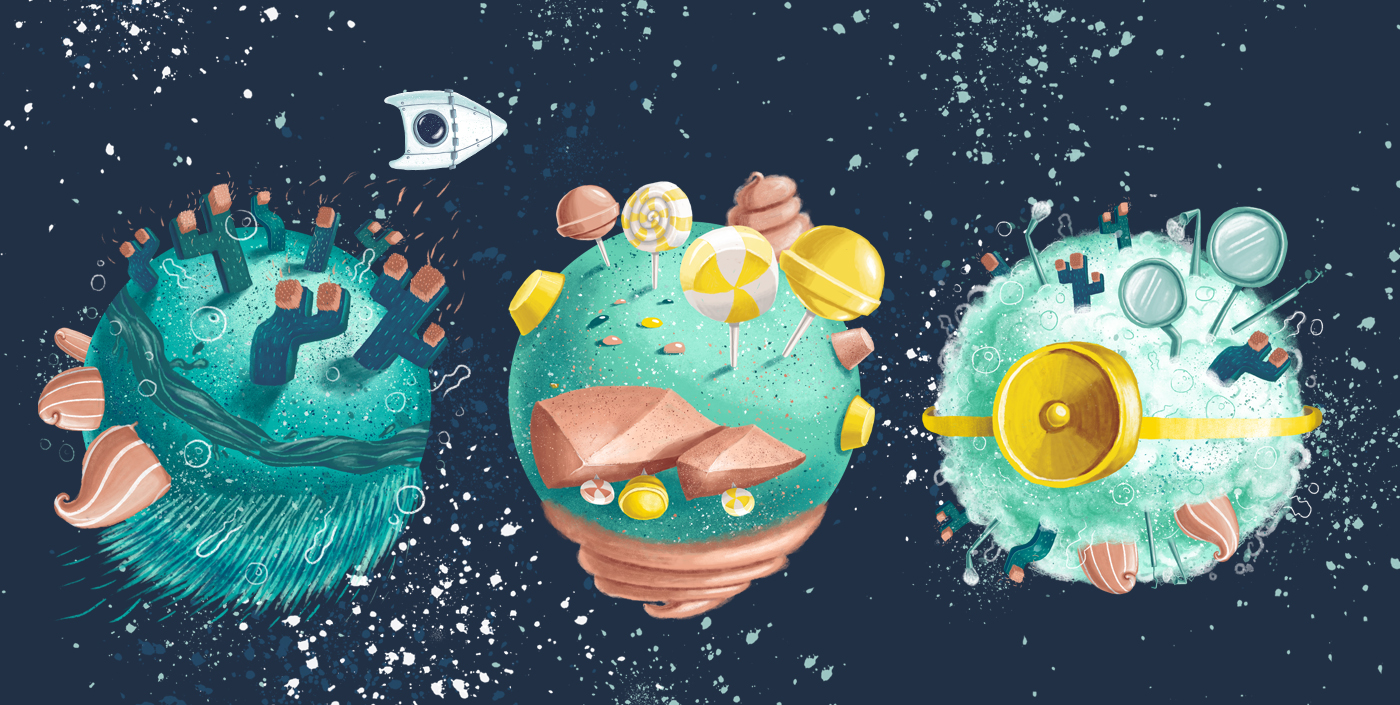 planets universe dental clinic dr leahu dintica andra badea illustrator